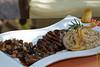 Lomo de alpaca en salsa de oporto al tomillo con quinoto al pan de centeno y sus peras & berenjas salteadas al balsámico - El Huacatay - Jr. Arica 620 - Urubamba - Valle Sagrado de los Incas - Cusco - Perú<br /> <br />  Alpaca tenderloin in port sauce with thyme, quinoto with rye bread and sauteed pears & aubergines in balsamic vinegar @ El Huacatay - Jr. Arica 620 - Urubamba - Sacred Valley of the Incas - Cusco - Peru<br /> <br /> Alpaca ossenhaas in port saus met tijm, quinoto met roggebrood en gebakken peren & aubergines in balsamico azijn - El Huacatay - Jr. Arica 620 - Urubamba - Heilig Dal van de Inca's - Cusco - Peru<br /> <br /> Filet de alpaga en sauce au porto avec du thym, quinoto au pain de seigle et poires & aubergines sautées au vinaigre balsamique - El Huacatay - Jr. Arica 620 - Urubamba - Vallée Sacrée des Incas - Cusco - Pérou