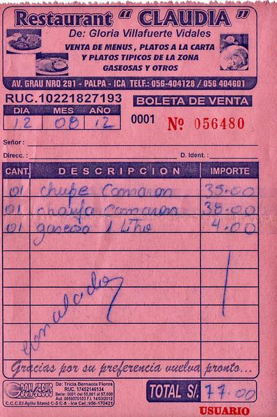 "La cuenta en Restaurant ""Claudia"" - Av. Grau - Palpa - Ica - Perú<br /> <br /> The bill @ Restaurant ""Claudia"" - Av. Grau - Palpa - Ica - Peru<br /> <br /> De rekening in Restaurant ""Claudia"" - Av. Grau - Palpa - Ica - Peru<br /> <br /> La note au Restaurant ""Claudia"" - Av. Grau - Palpa - Ica - Pérou"