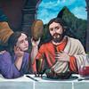 Pintura de Jesús con un pan chuta & un cuy