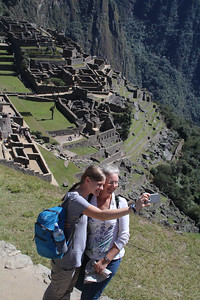 Aunika takes a selfie with Mitzi at Machu Pichu.