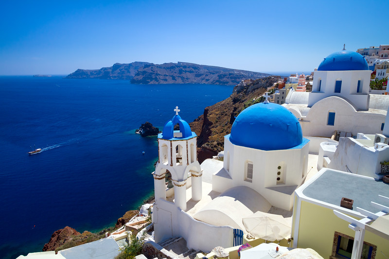 best views in Santorini - Oia church with 3 blue domes