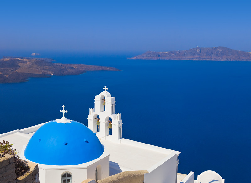 Santorin en photos - Les 3 cloches de Fira