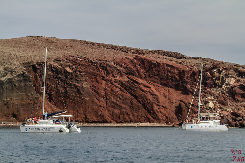 Katamaran Santorini Tour Red Beach