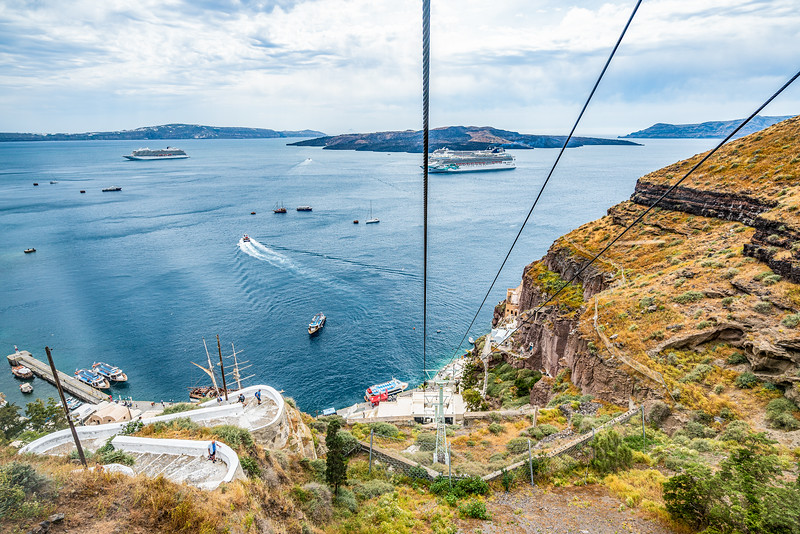 Santorini Old Harbour Fira cable car