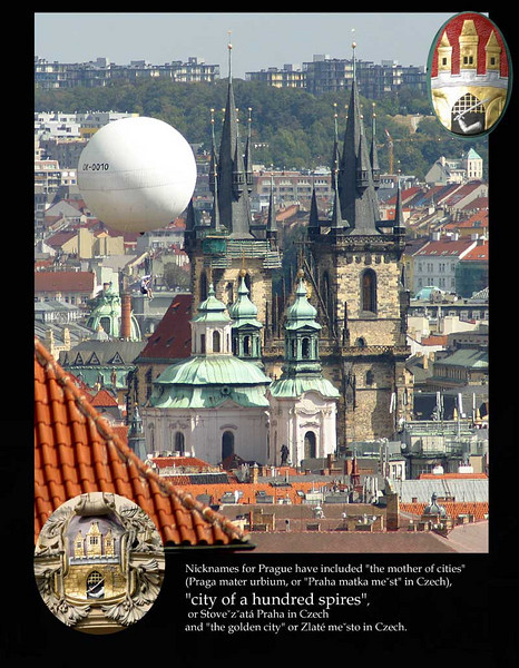 Tiny section of the City of a Hundred Spires. Note the tourist under the tethered white balloon.<br /> Prague, September 2009