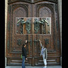 Castle Hluboka. Elaborate door - we arrived too late - closed.<br /> September 7, 2009