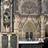 West side of St. Vitus Cathedral with the Rose Window and carved door.<br /> Prague, September 2, 2009