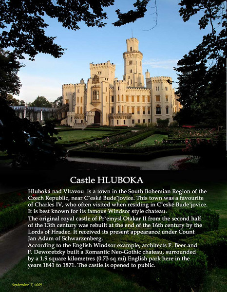 Castle Hluboka. We arrived at this beautiful castle just at sunset, it was closed already so we just wandered around admiring it from the outside.<br /> September 7, 2009