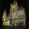 Night walk through the Prague Castle with the St.Vitus Cathedral well lit in the middle of it. <br /> Awesome sight. <br /> September 8, 2009