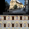 Cesky Krumlov. The walls of some buildings ae covered with paintings.<br /> September 7, 2009