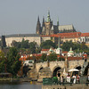 Prague Castle and St. Vitus Cathedral from Old Town. Vltava River, Charles Bridge and the statue of Bedrich Smetana, famous Czech composer.<br /> September 2, 2009