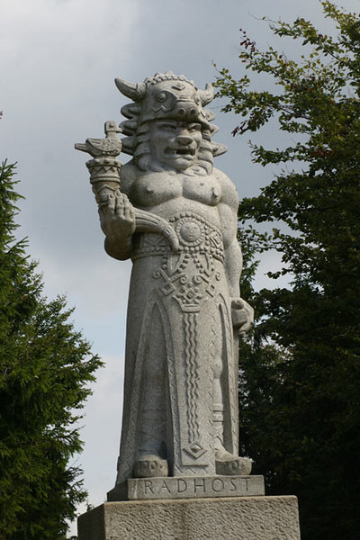 Radegast, sculpture of ancient Slav pagan god of fertility and hospitality sculped in 1930 by Albin Polasek, Beskydy Mountains in Northern Moravia.<br /> September 13, 2009
