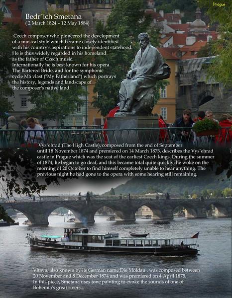 Czech composer of classical music Bedrich Smetana. His statue and museum on the shore of the Vltava River.  Prague, September 2009