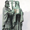 Missionaries Cyril and Methodius on the summit of Mount Radhost.<br /> Beskydy Mountains in Northern Moravia.<br /> September 13, 2009