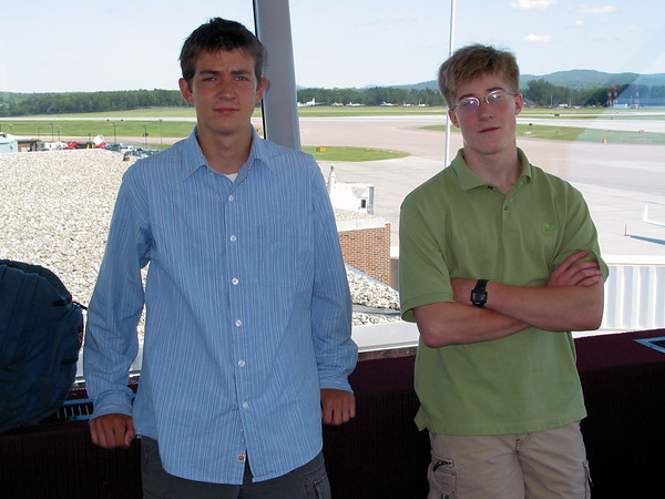 Mike and Ian at Burlington Vermont airport leaving for the trip to Czech Republic, Germany, and Austria.
