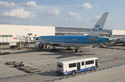 "The KLM 777-200 ""Albert Plesman"" just arrived from AMS. The same flight will bring me back to DTW in less than 2 weeks. Shot from the 747-400 upper deck."