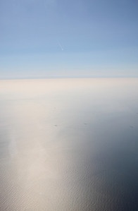 Shortly after take-off heading west, a view of the North Sea.