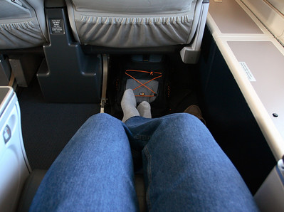 Plenty of legroom, seat 74K. Upper deck of the Boeing 747-400, NWA flight 68 from Detroit to Amsterdam.