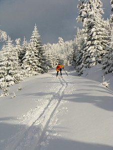 Near Holubnik mountain pass. Skiing in Jizera Mountains (Jizerske hory).