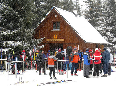 Refreshment hut at Hrebinek. Skiing in Jizera Mountains (Jizerske hory).