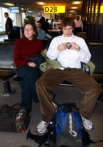 Abbey and Mike at the Schiphol airport in Amsterdam, Netherlands.
