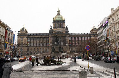 Top of the Wenceslas Square (Vaclavske namesti, wiki) with the National Museum (Narodni museum, wiki) and the statue of St. Wenceslas (Svaty Vaclav).