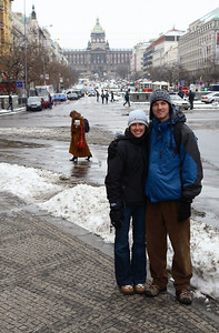 Abbey and Mike, Wenceslas Square (Vaclavske namesti, wiki) with the National Museum (Narodni museum, wiki) in the background.