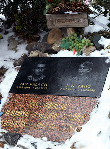 """In memory of the victims of communism."" The memorial to Jan Palach and Jan Zajic near the top of the Wenceslas Square."