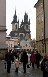 Tyn Cathedral (Tynsky chram, wiki) and the memorial of Jan Hus at the Old Town Square, Prague (Staromestske namesti, wiki).