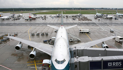 Cathay 747. Frankfurt airport visitors terrace on a rainy morning.