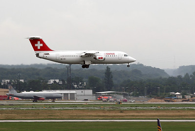 Swiss Avro 146. Frankfurt airport visitors terrace on a rainy morning.