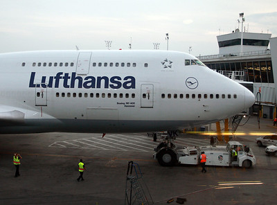 Hannover, Lufthansa's 744. View from Lufthansa lounge at New York Kennedy Airport.