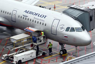 Aeroflot A321. Frankfurt airport visitors terrace on a rainy morning.