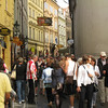 Prague - Some of the crowds on the street leading to the Charles Bridge.