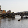Prague - some of the tour boats plying the river in the late afternoon.