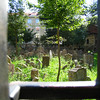 Prague - Old Jewish Cemetery.  This is a small view of some of the cemetery, taken through an opening in the gate.  I didn't have time for a complete tour on this visit to the city.