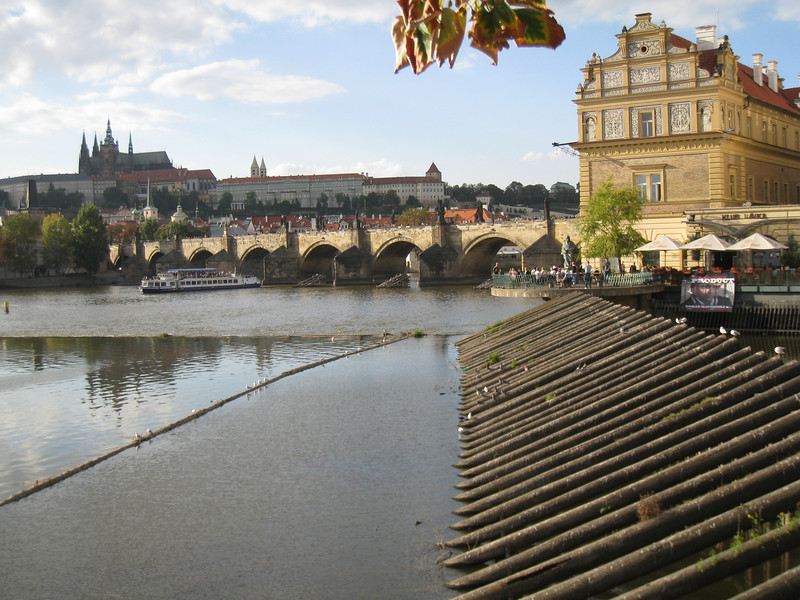 Prague - Charles Bridge and Prague Castle in the late afternoon.