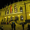 Prague - the elegant Opera House.  A performance had just ended and the patrons were streaming out of the building.