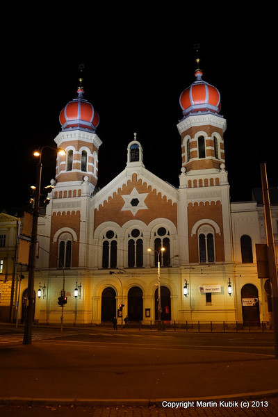 One of the Pilsen's renovated synagogues a night.