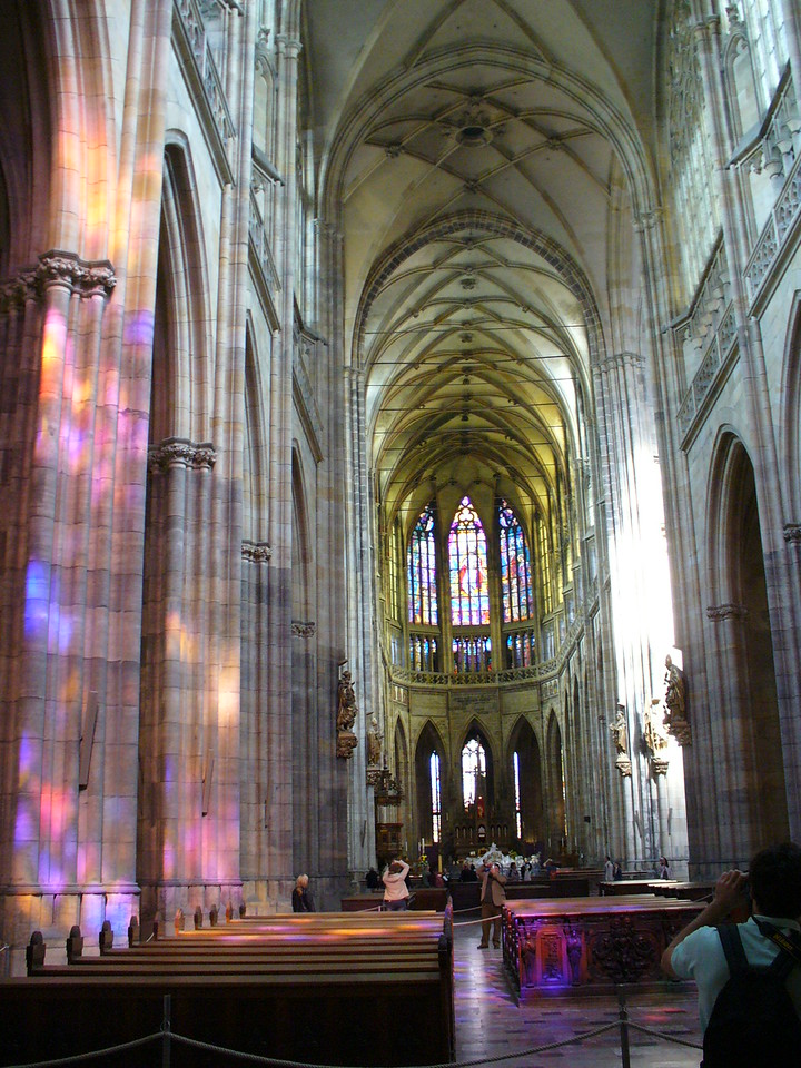 Mai Cathedral in Prague - check out the light effect from the stained glass window.