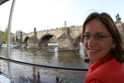 The Attache on a river cruise.  Again, Charles Bridge there.
