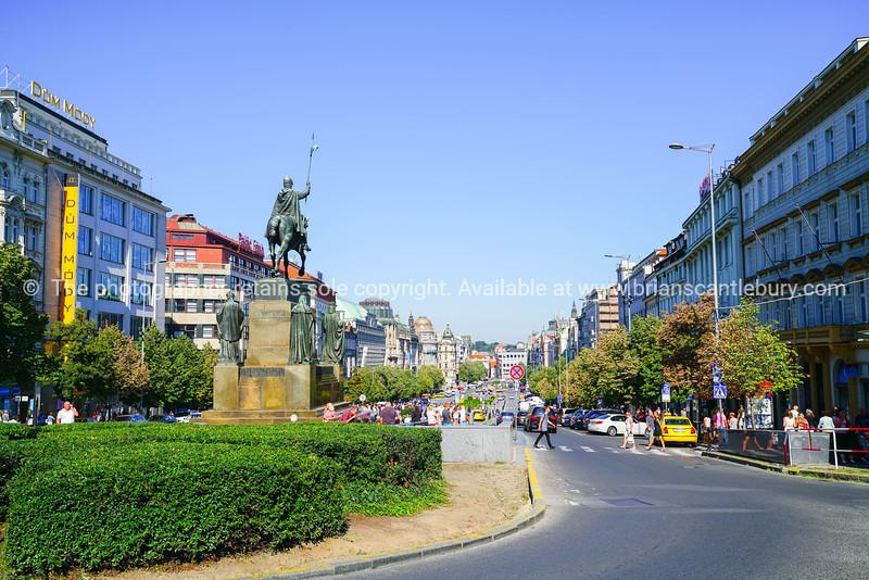 Wenceslas Square public center in European city of Prague.