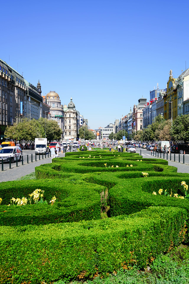 Wenceslas Square public center in European city of Prague.