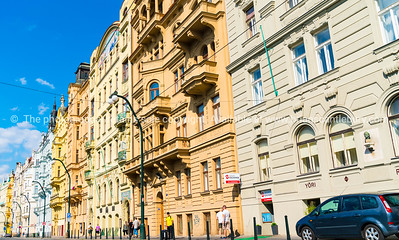 Traditional architecture along streets in Prague