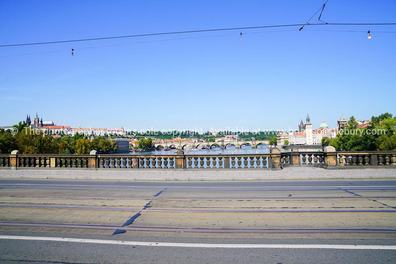 Stunning architecture and bridges across Vltava River Prague, Czech Republic
