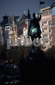 The bronze sculpture by J.V. Myslbek, monumnet of St. Wenceslas, the patron saint of the country installed in 1913.