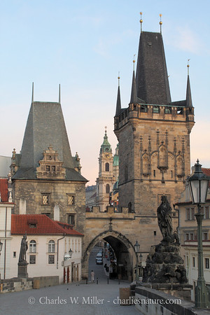Day dawns on the western end of the Charles Bridge, Prague