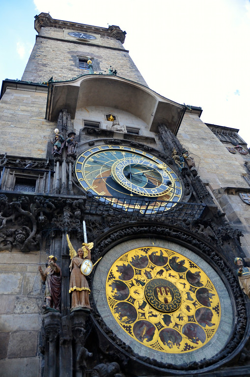 Astronomical Clock that the disciples come out on each hour...looking up before we went up into the tower