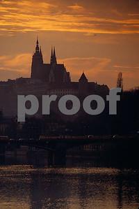 The spires of St. Vit's Cathederal rise above the Prague Castle. Prague Castle