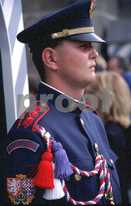 A soldier stands guard to the entrance of the Prague Castle.